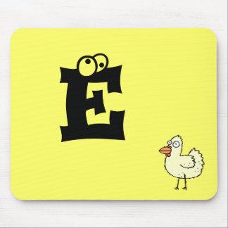 Funky Farm Chicken Monogram Mousepad Letter E