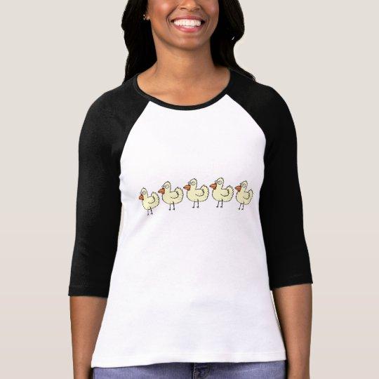 Funky Farm Chicken Pattern 3/4 Sleeve Raglan Shirt