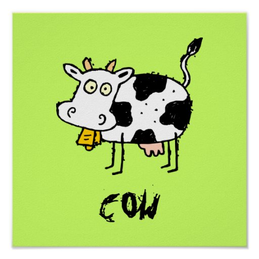 Funky Farm Cow Customizable Kids Square Poster