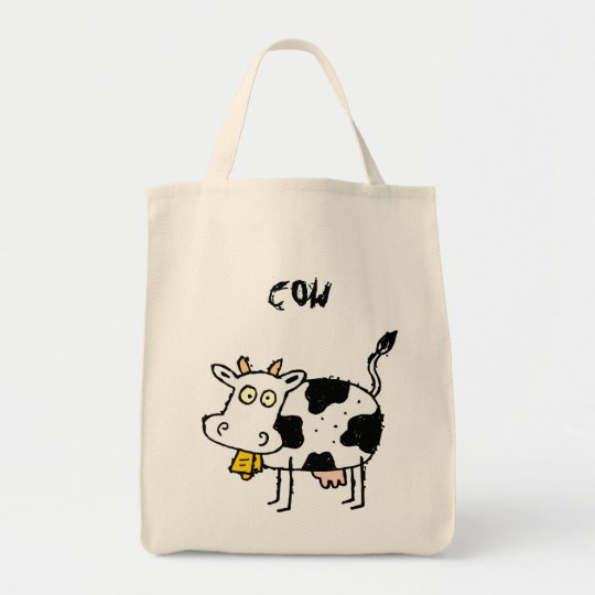Funky Farm Cow Grocery Tote Bag