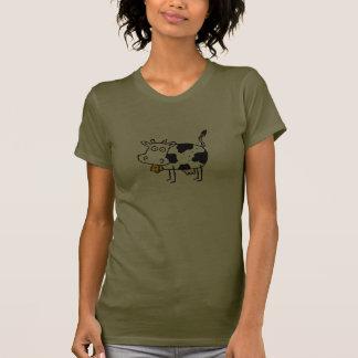 Funky Farm Cow Ladies Petite T-Shirt