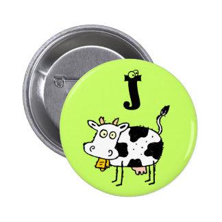 Funky Farm Cow Monogram Button Letter J
