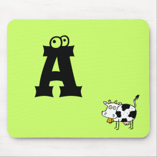 Funky Farm Cow Monogram Mousepad Letter A