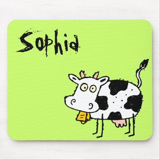Funky Farm Cow Name Mousepad Sophia