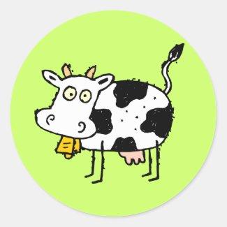 Funky Farm Cow Sticker