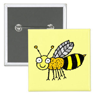 Funky Farm Honey Bee Button