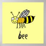 Funky Farm Honey Bee Kids Square Poster