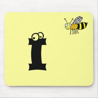 Funky Farm Honey Bee Monogram Mousepad Letter I