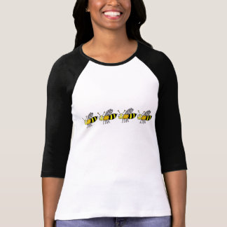 Funky Farm Honey Bee Pattern 3/4 Sleeve Raglan Top Tee Shirt