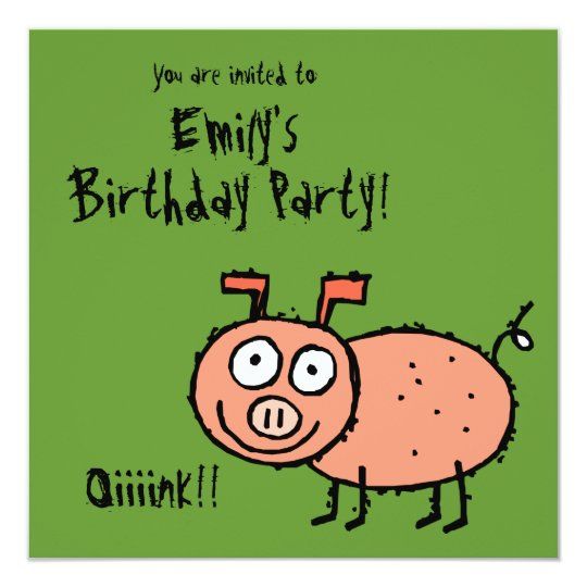 Funky Farm Pig (Birthday) Party Invitation Oink