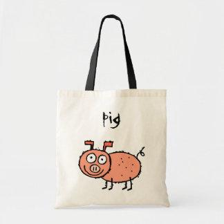 Funky Farm Pig Budget Tote Bag