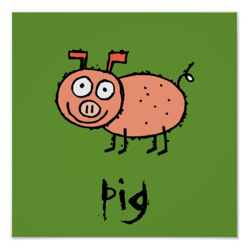 Funky Farm Pig Customizable Kids Square Poster