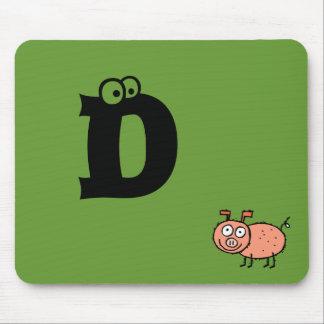 Funky Farm Pig Monogram Mousepad Letter D