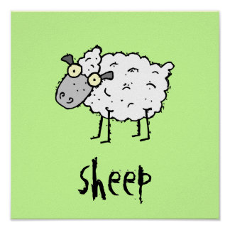 Funky Farm Sheep Customizable Kids Square Poster