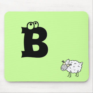 Funky Farm Sheep Monogram Mousepad Letter B