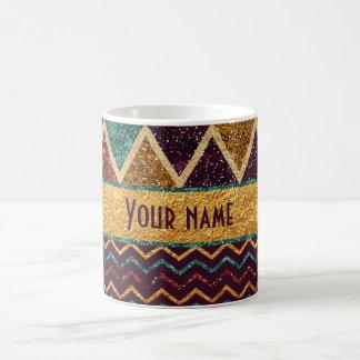 Funky Faux Glitter Gold Foil Triangles Chevrons Coffee Mug