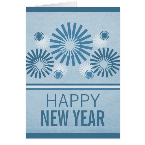 Funky Fireworks New Years Card, Blue