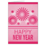 Funky Fireworks New Years Card, Pink