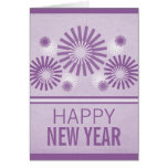 Funky Fireworks New Years Card, Purple