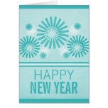 Funky Fireworks New Years Card, Teal