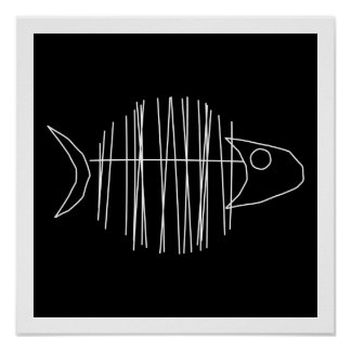 Funky Fish - B & W Poster