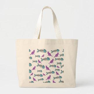 Funky Fish Bone and Cat Jumbo Tote Bag-Purple/Blue