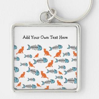 Funky Fish Bone and Cat Keychain - Orange/Blue