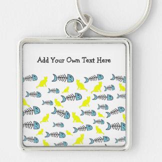 Funky Fish Bone and Cat Keychain - Yellow/Blue