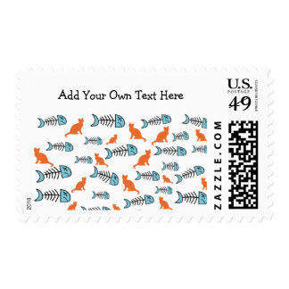 Funky Fish Bone and Cat Postal Stamps -Orange/Blue