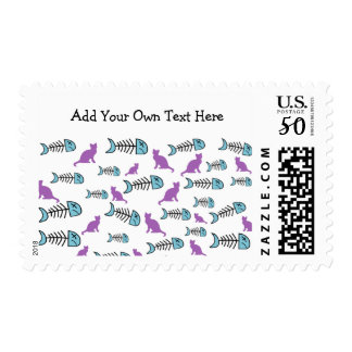 Funky Fish Bone and Cat Postal Stamps -Purple/Blue
