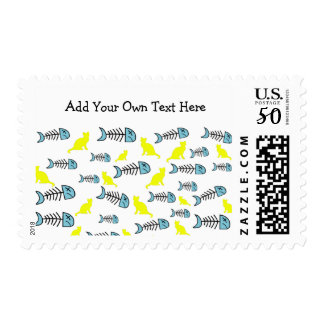 Funky Fish Bone and Cat Postal Stamps -Yellow/Blue