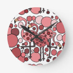 Funky Flamingo Art Round Clocks