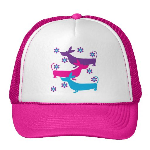 Funky floral basset hound dog hat, cap, gift