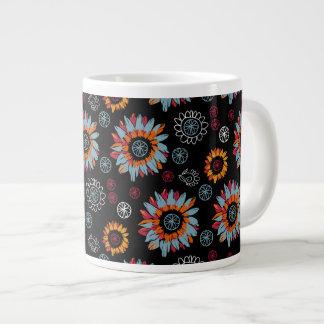 Funky Floral Black Background Jumbo Coffee Cup