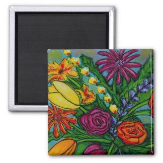 Funky Floral Bouquet Magnet