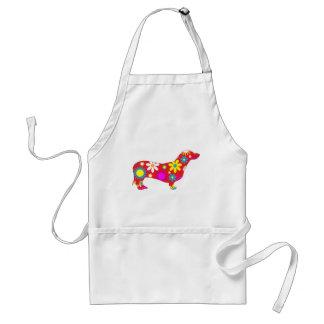 Funky floral dachshund dog apron, gift idea adult apron