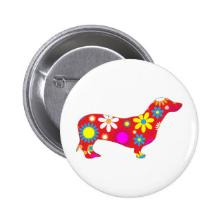 Funky floral dachshund dog button, pin, gift idea pinback button