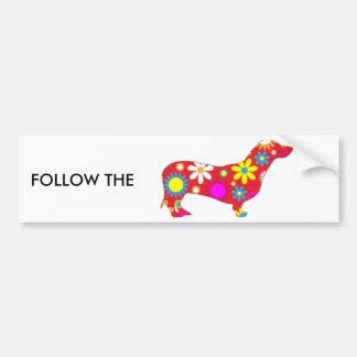 Funky floral dachshund dog car bumper sticker