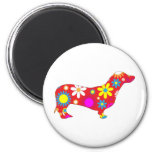 Funky floral dachshund dog magnet, gift idea