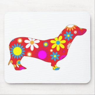 Funky floral dachshund dog mousepad, gift idea