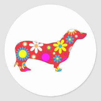 Funky floral dachshund dog stickers gift