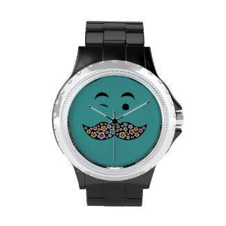 Funky Floral Face with Retro Tash Wristwatches
