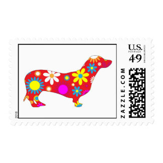 Funky Floral Flowers Dachshund postage stamp
