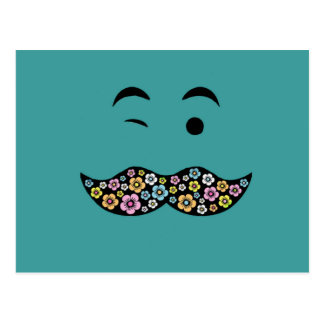 Funky Floral Mustache Postcards