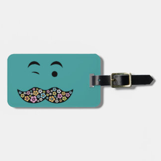 Funky Floral Mustache Travel Bag Tags