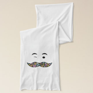 Funky Floral Mustache Winking Face Scarf