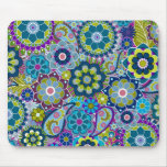 Funky Floral Pattern in trendy colors Mouse Pad