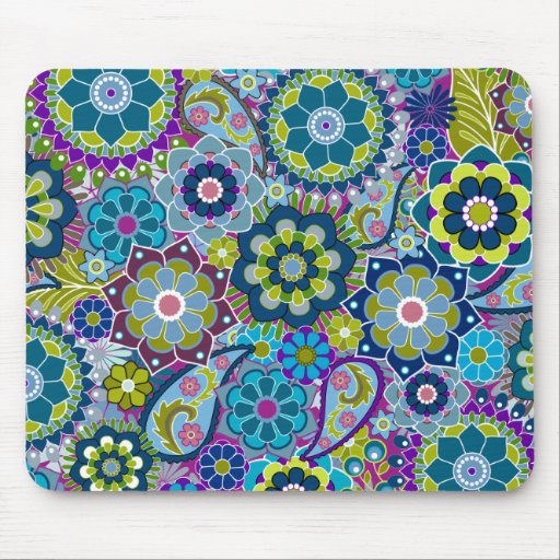 Funky Floral Pattern in trendy colors Mousepads