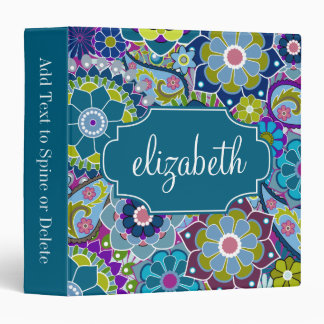 Funky Floral Pattern with Custom Name 3 Ring Binder