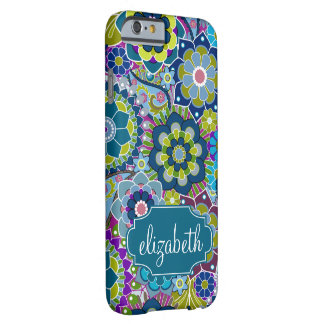 Funky Floral Pattern with Custom Name Barely There iPhone 6 Case